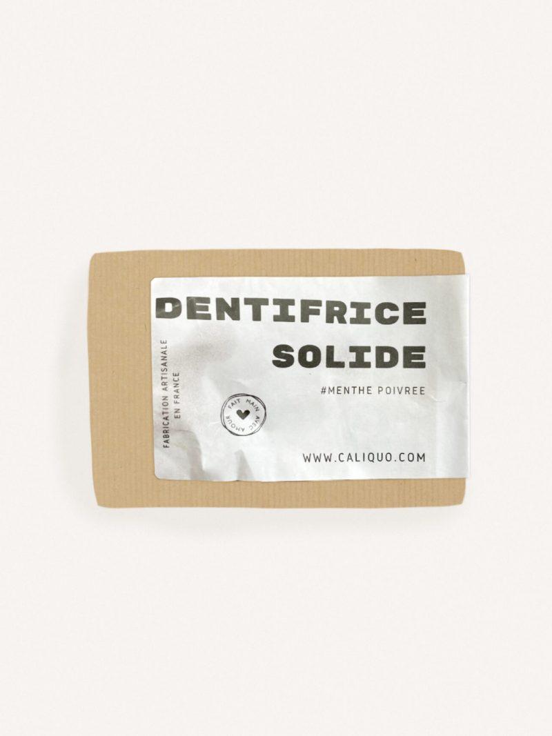 Dentifrice solide menthe de la marque caliquo, zéro déchet et made in france