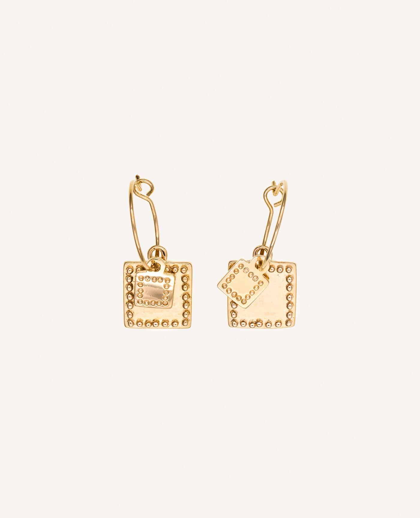Boucles d'oreilles Agathe créoles double charms de la marque Luj Paris