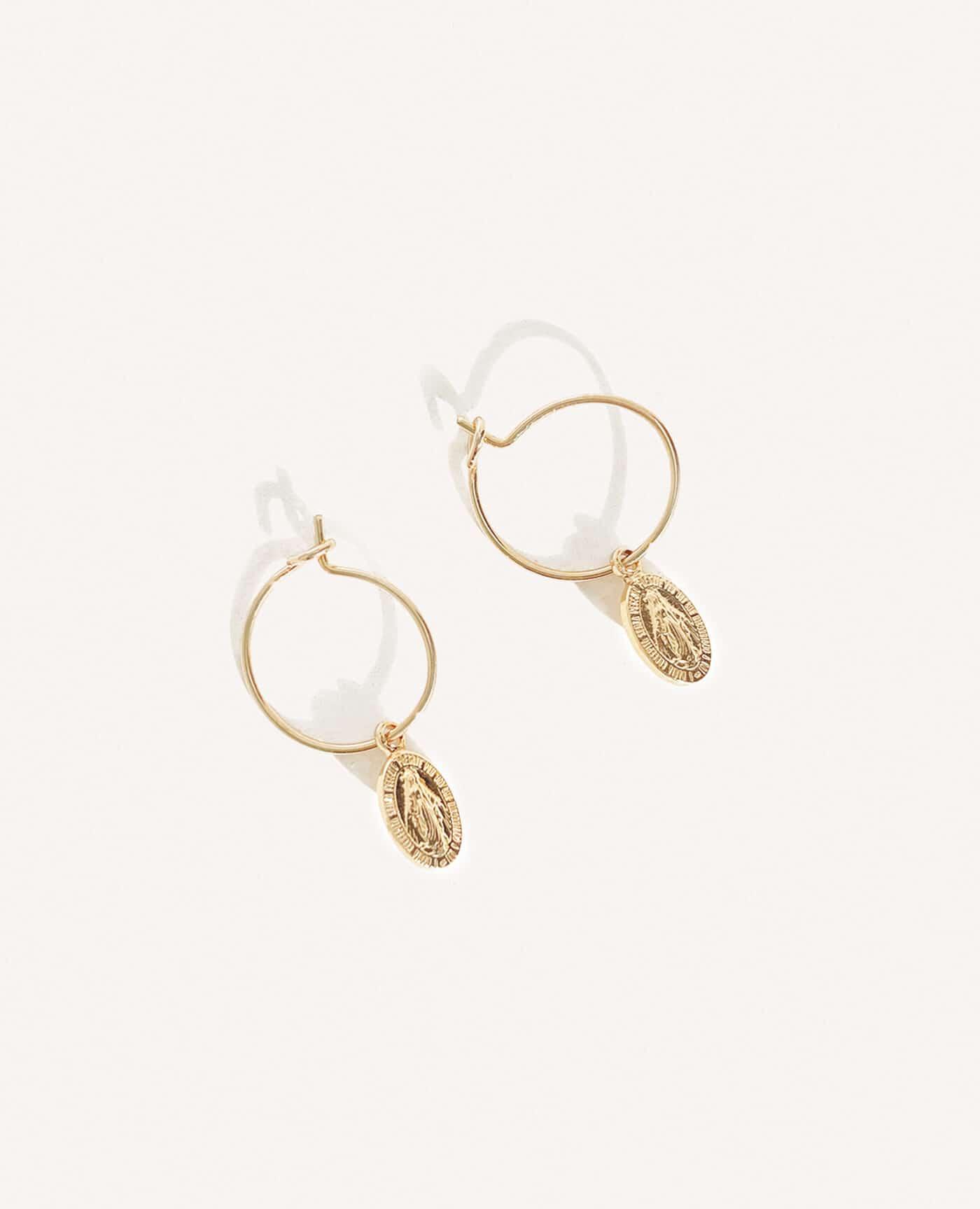 Boucles d'oreilles Miracle en or médailles vierge miracle de la marque Luj Paris