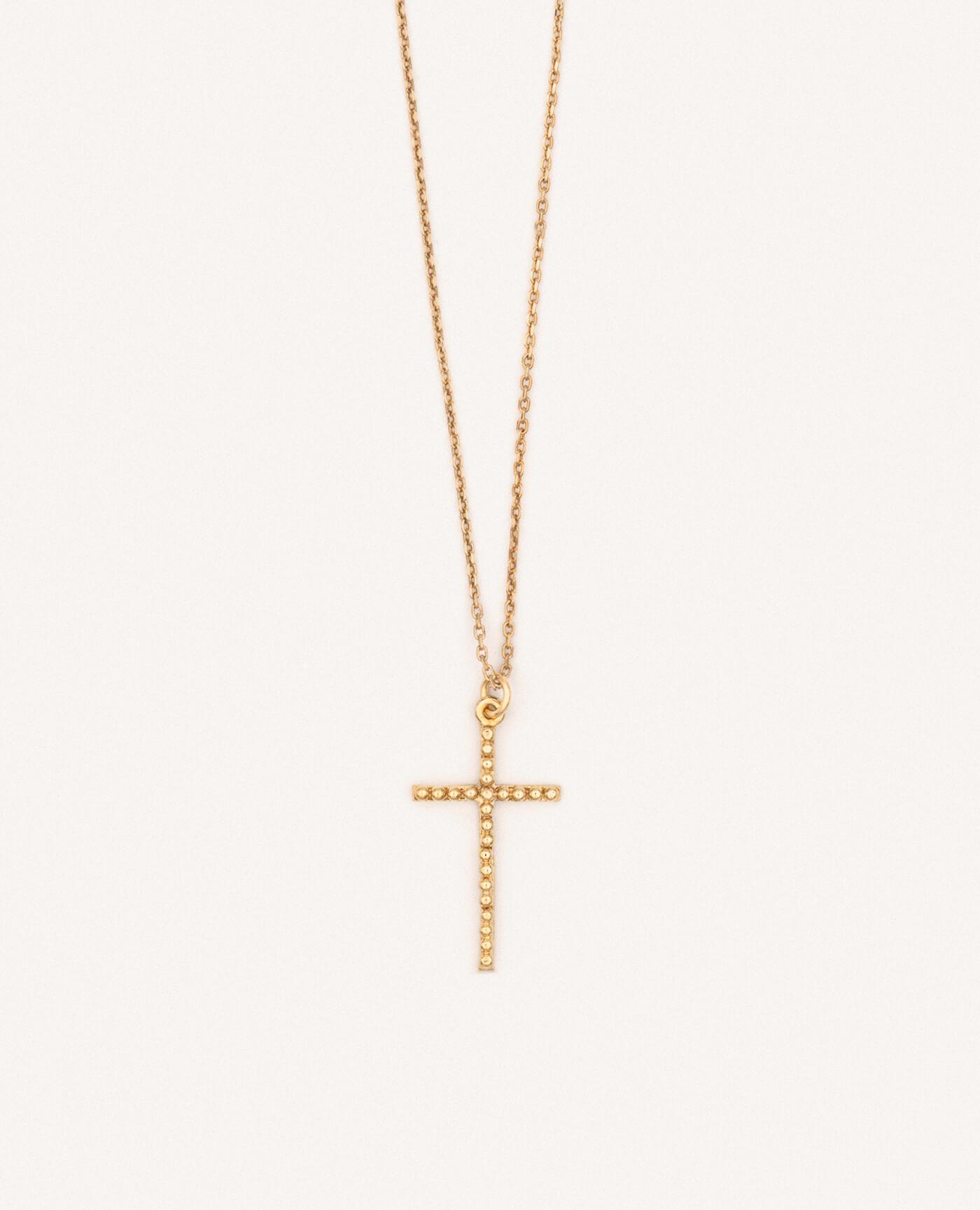 Collier croix fine en or de la marque Luj Paris