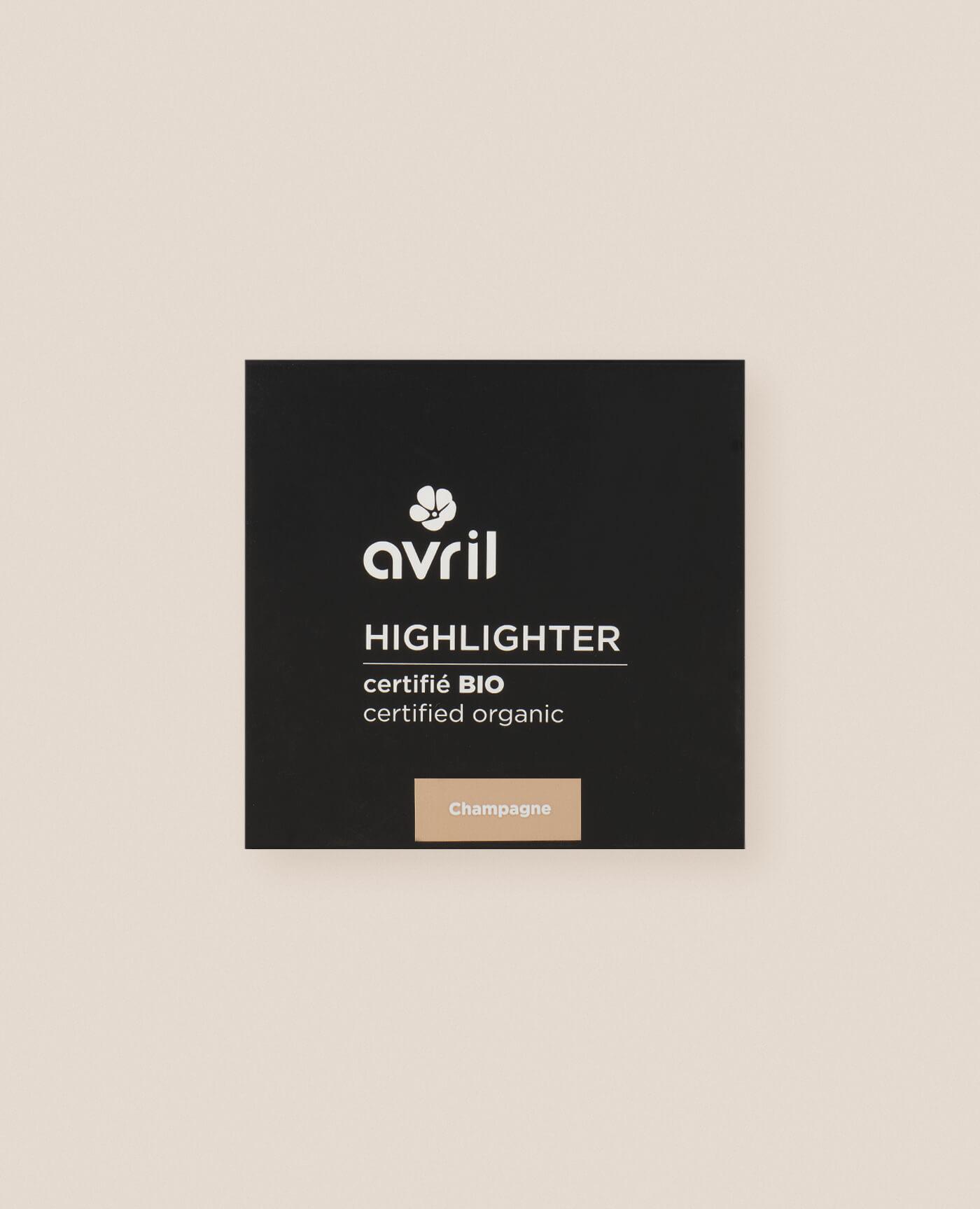 Highlighter bio, naturel et vegan de teinte champagne de la marque Avril cosmétiques made in france