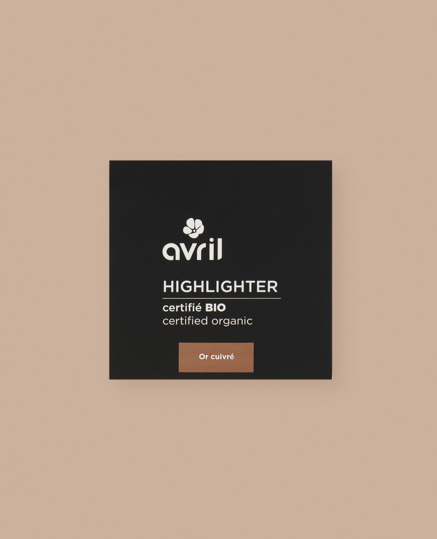Highlighter bio, naturel et vegan de teinte or cuivré de la marque Avril cosmétiques made in france