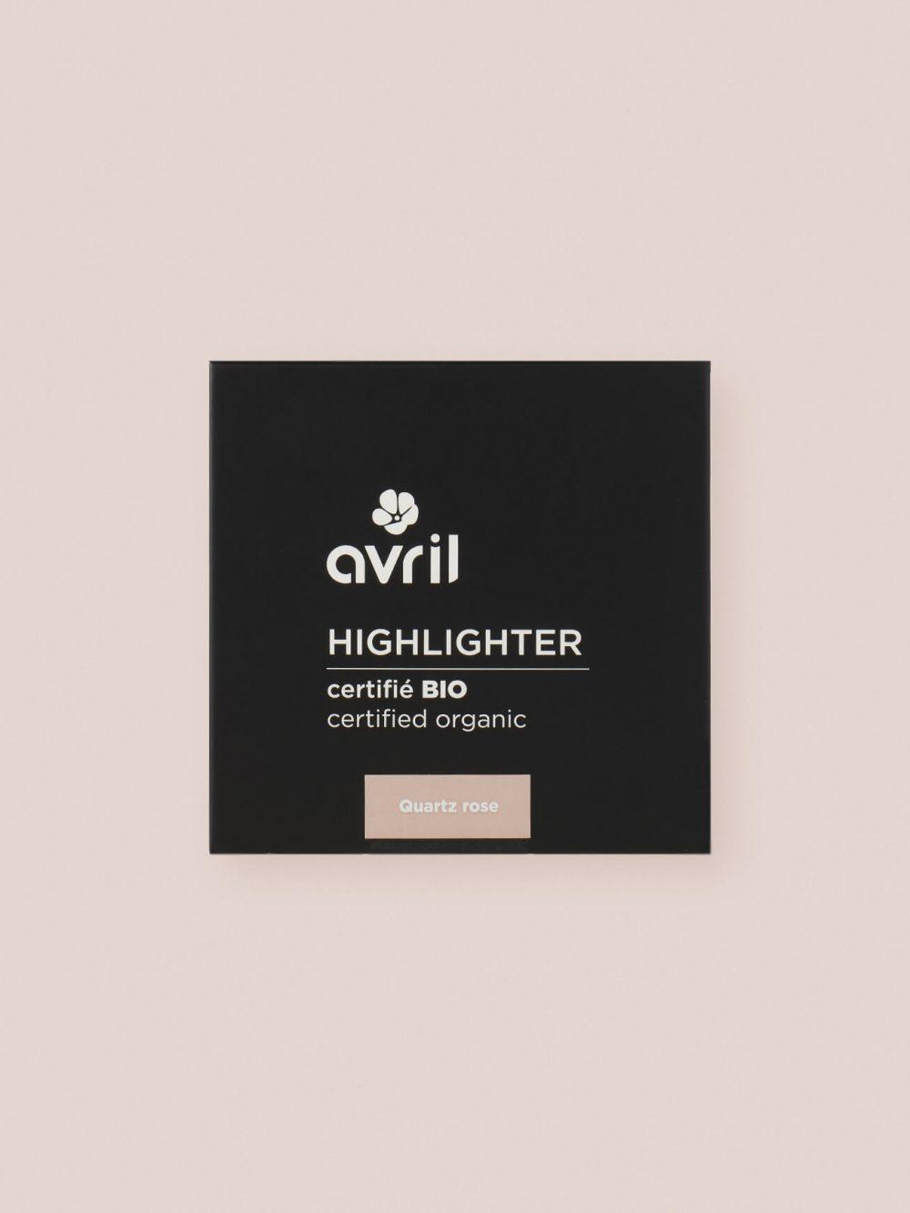 Highlighter bio, naturel et vegan de teinte quartz rose de la marque Avril cosmétiques made in france