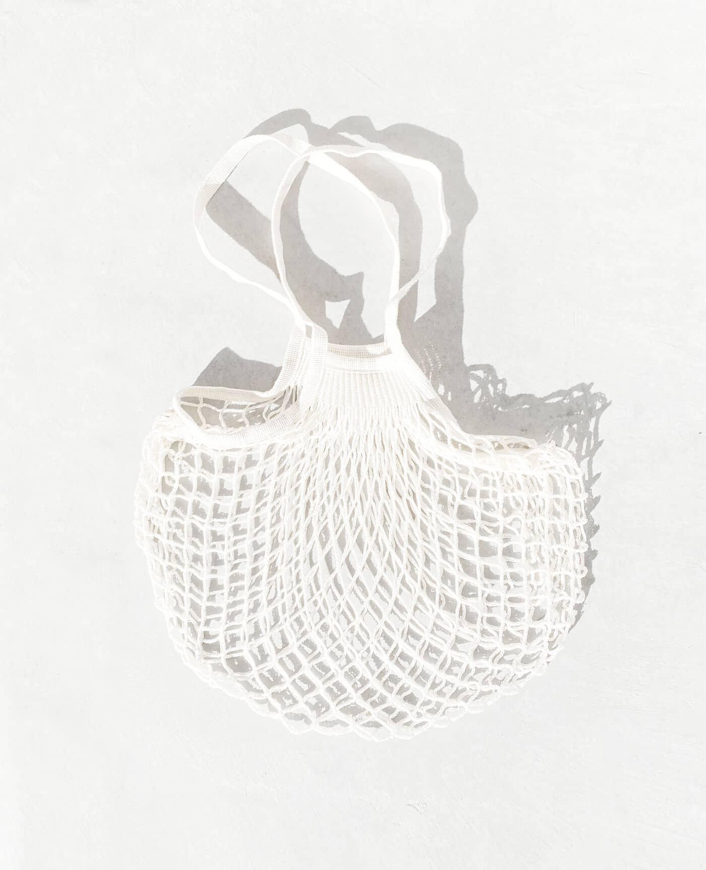 Sac filet à provision bio et vegan avec un look vintage de la marque Filt 1860 Made in France de couleur blanc écru