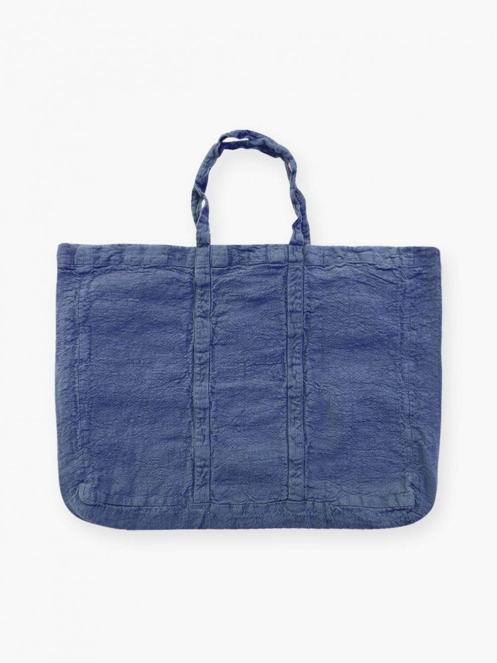 Sac de plage vegan bleu outremer en lin français de la marque comptoir des teintures Made in France