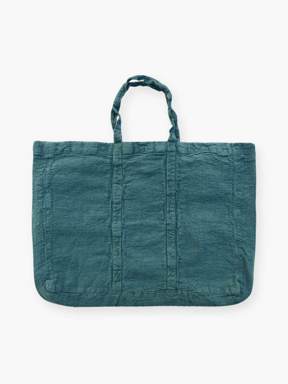 Sac de plage vegan bleu vert viride en lin français de la marque comptoir des teintures Made in France