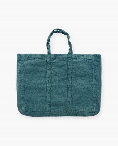 Sac cabas vegan bleu vert viride en lin français de la marque comptoir des teintures Made in France