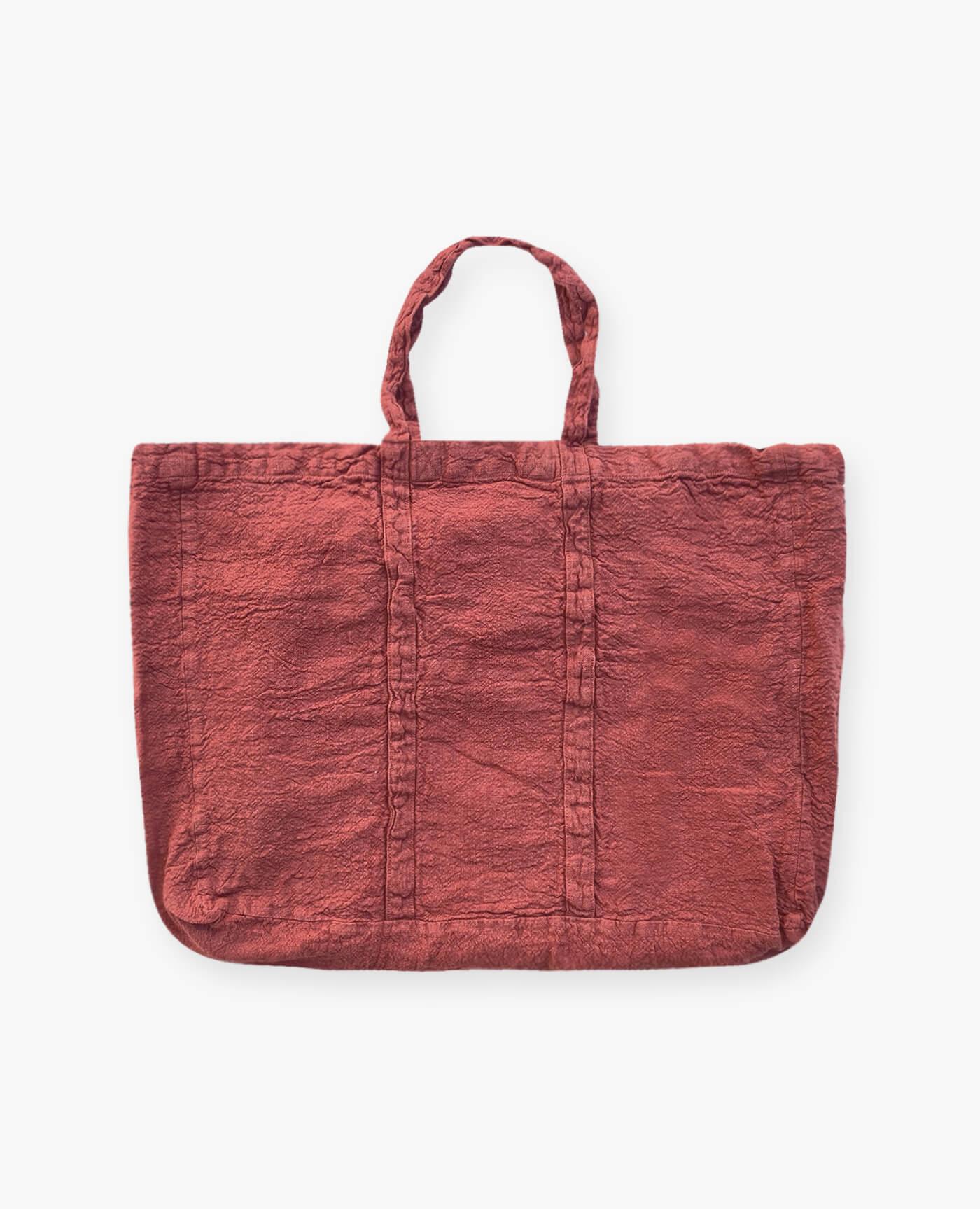 Sac de plage vegan rouge terracotta en lin français de la marque comptoir des teintures Made in France