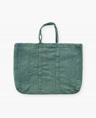 Sac cabas vegan vert eucalyptus en lin français de la marque comptoir des teintures Made in France