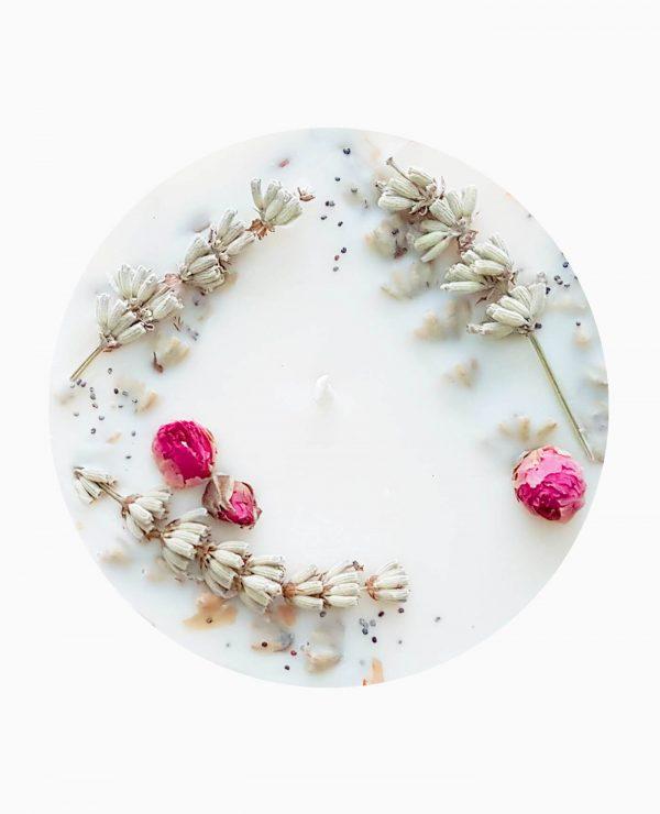 Bougie parfumée fleurie Rose de Damas vegan de la marque Ponoie made in France