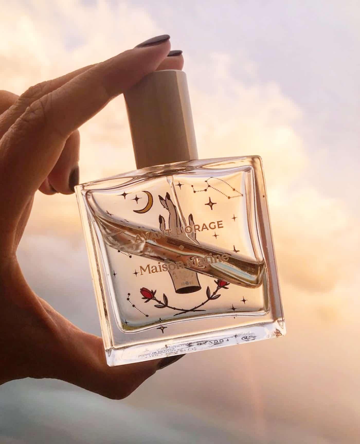 Parfum naturel Avant l'Orage, Boisé Fleuri, vegan à l'alcool bio de la marque Maison Matine Made in France