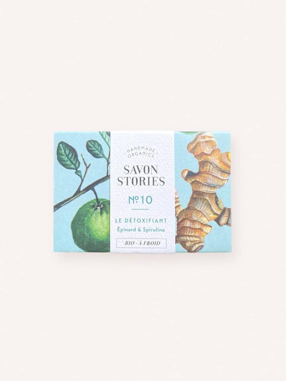 Savon solide détoxifiant bio, naturel et vegan aux épinard et spiruline de la marque Savon stories made in france