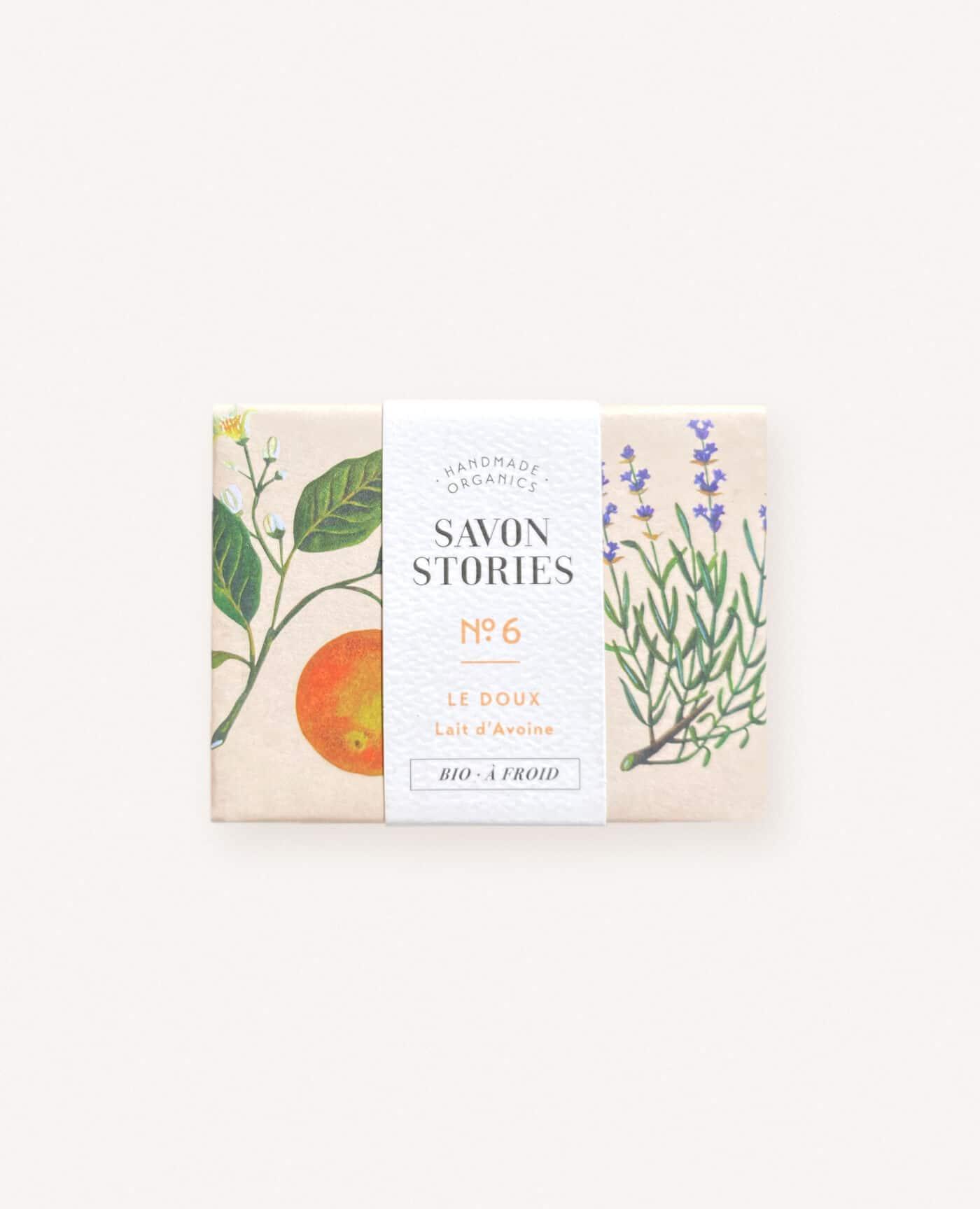 Savon solide doux bio, naturel et vegan au lait d'avoine, orange, lavande et patchouli de la marque Savon Stories made in france