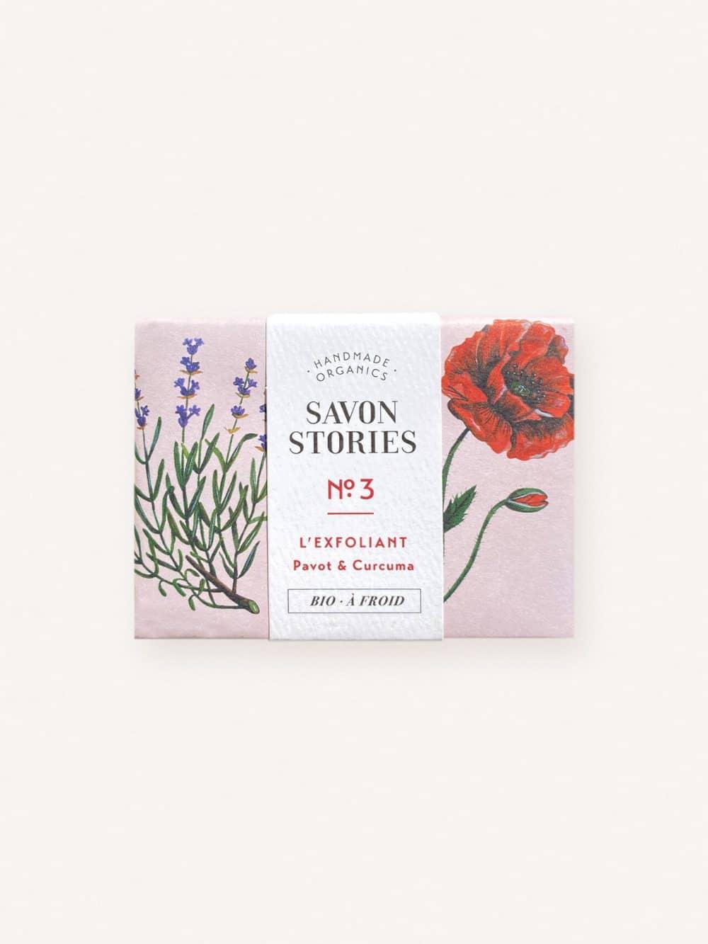 Savon solide exfoliant bio, naturel et vegan au pavot, curcuma, lavande et citronnelle de la marque Savon Stories made in france