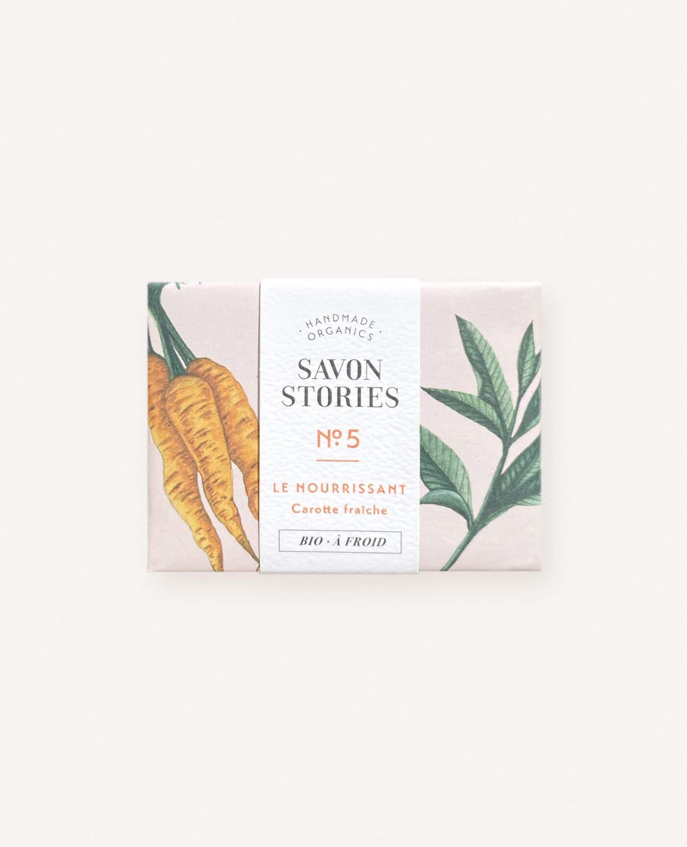Savon solide Nourissant bio, vegan et naturel à la carotte et verveine de la marque Savon stories made in france