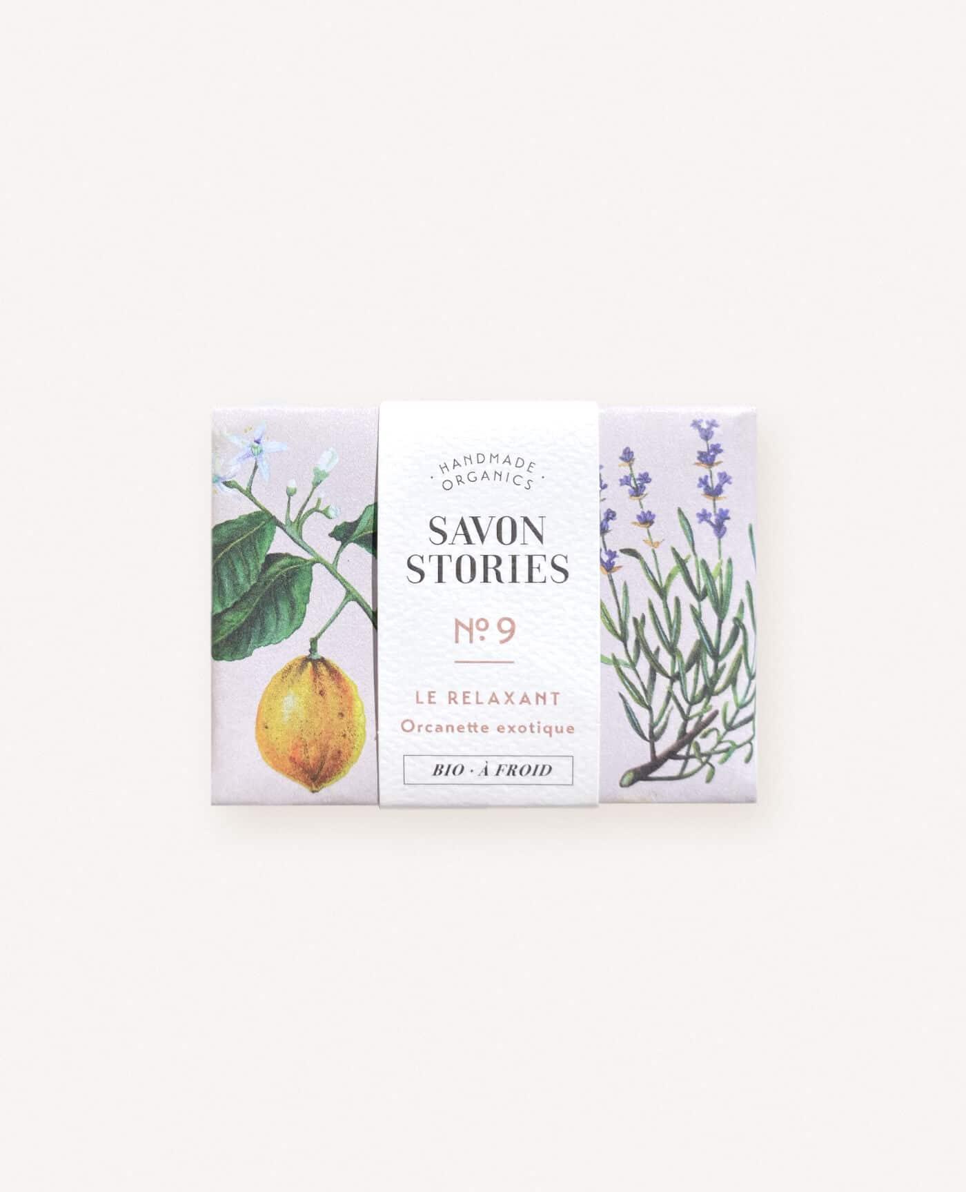 Savon solide relaxant bio, naturel et vegan à l'orcanette exotique, lavande, géranium et bergamote de la marque Savon Stories made in france