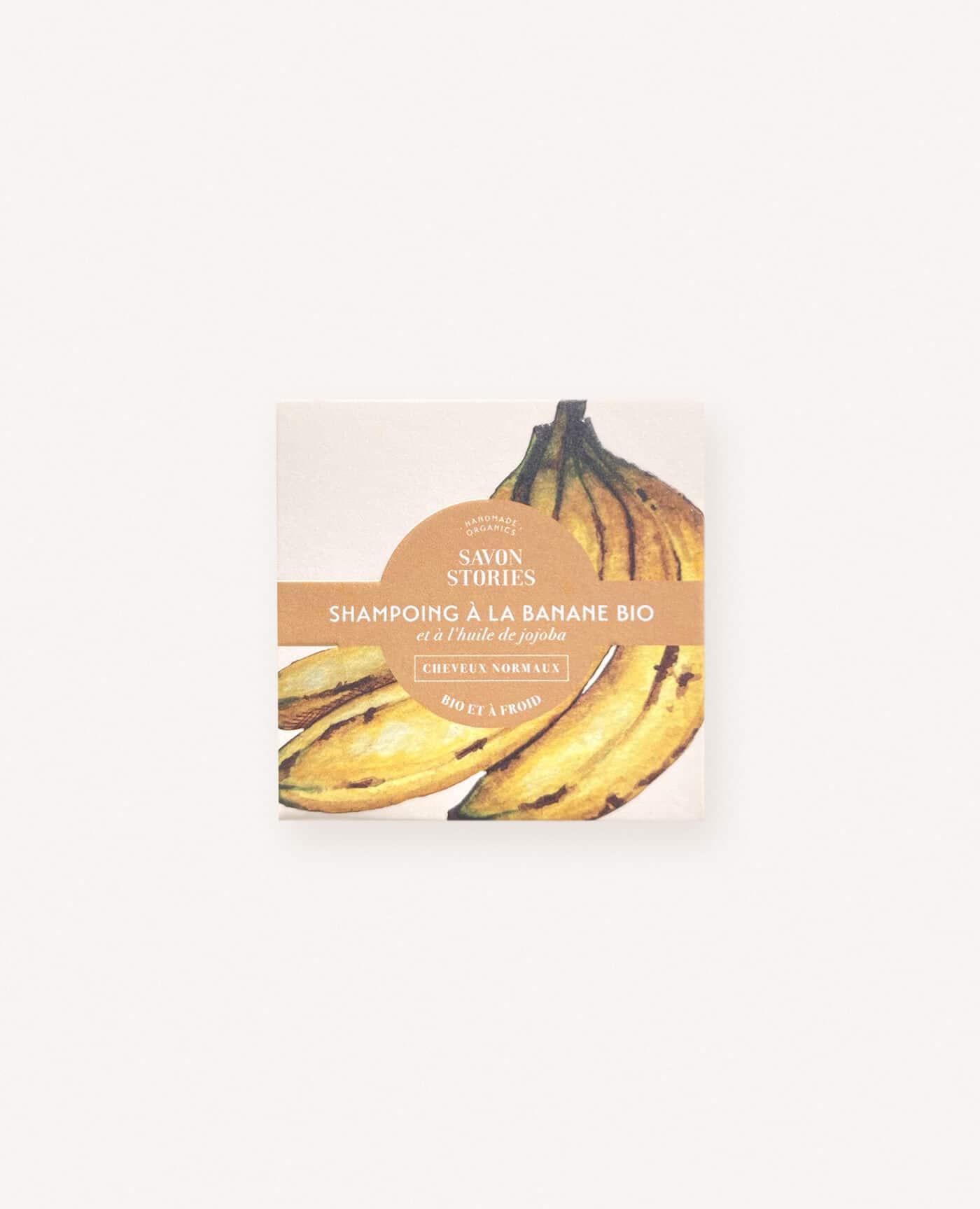 Shampoing solide bio, naturel et vegan à la banane pour les cheveux normaux de la marque Savon Stories made in france