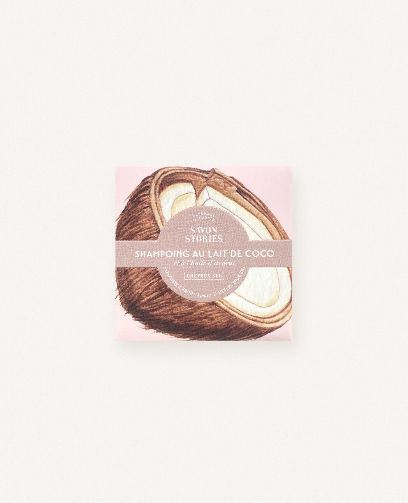 Shampoing solide bio, naturel et vegan coco pour cheveux secs de la marque Savon Stories made in france