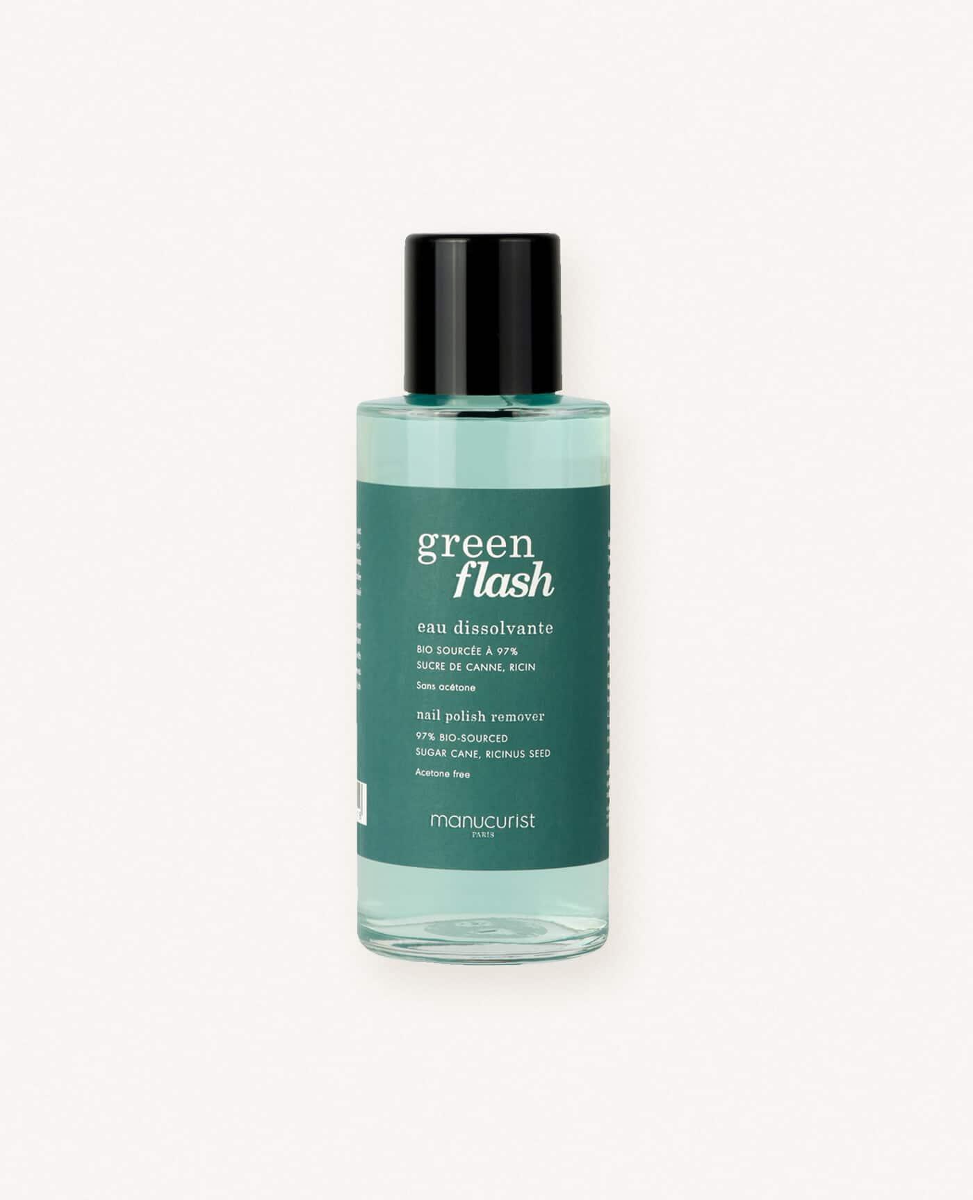 Eau dissolvante pour vernis à ongles bio semi-permanent green flash de la marque Manucurist made in france
