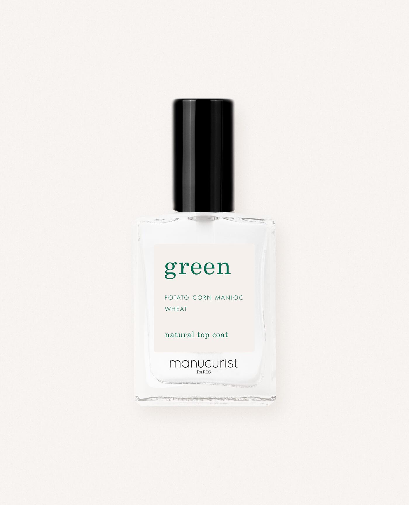 Top coat bio pour vernis green de la marque Manucurist made in france