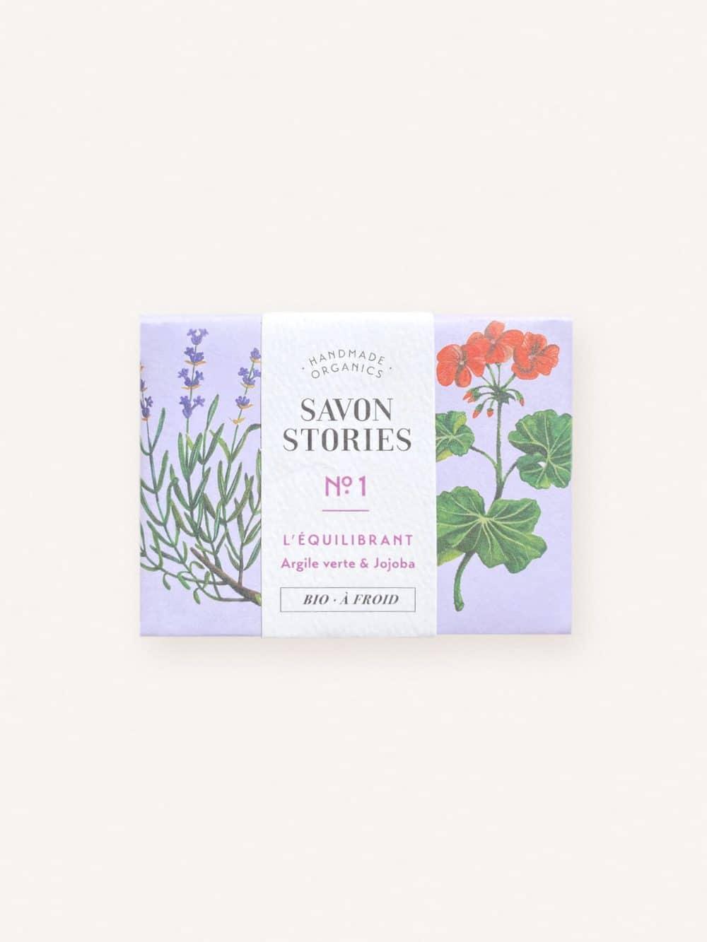 Savon solide équilibrant bio, naturel et vegan à l'argile verte, jojoba, lavande, patchouli et geranium de la marque Savon Stories made in France