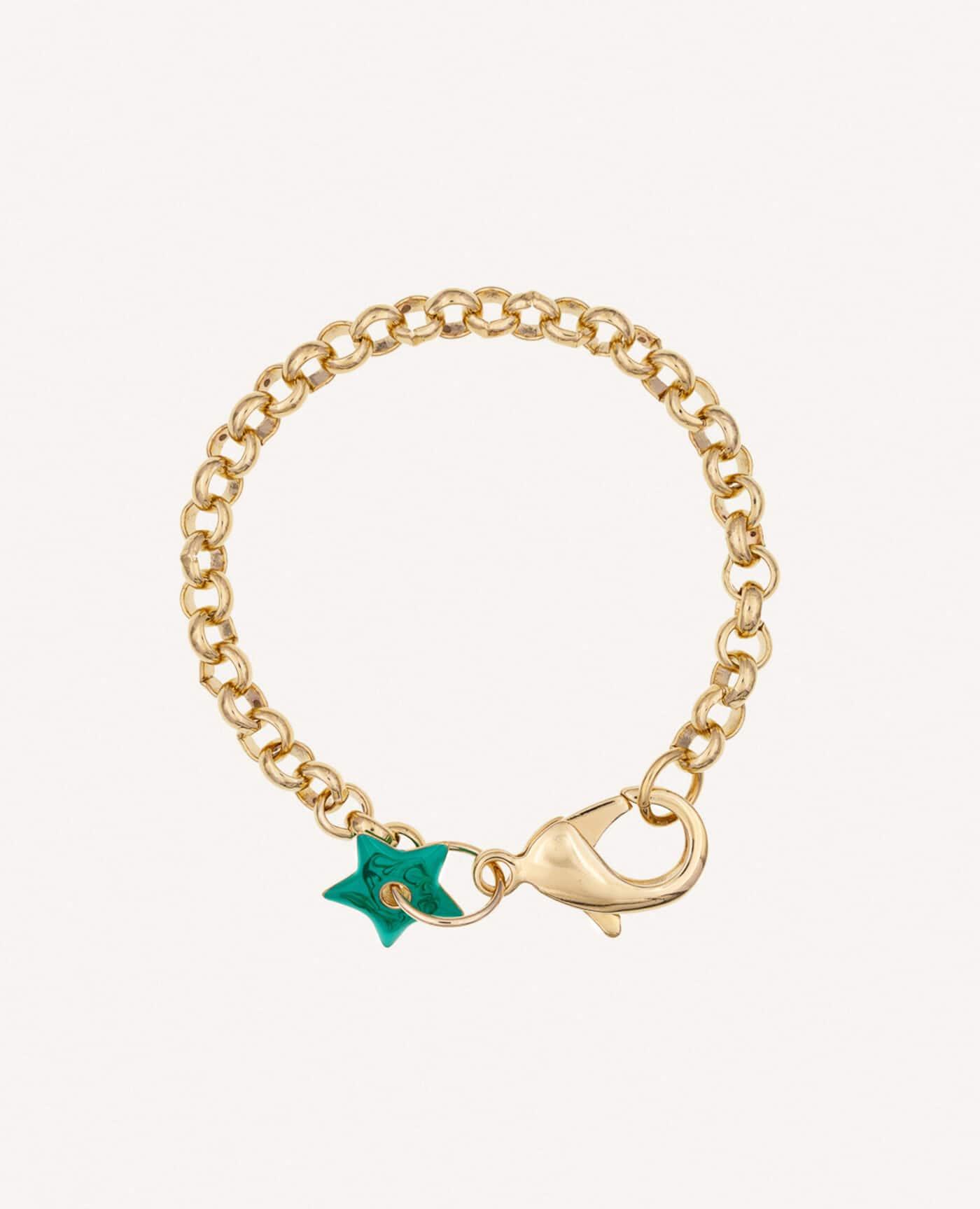 Bracelet Anémone en or avec étoile verte émaillée de la marque Luj Paris