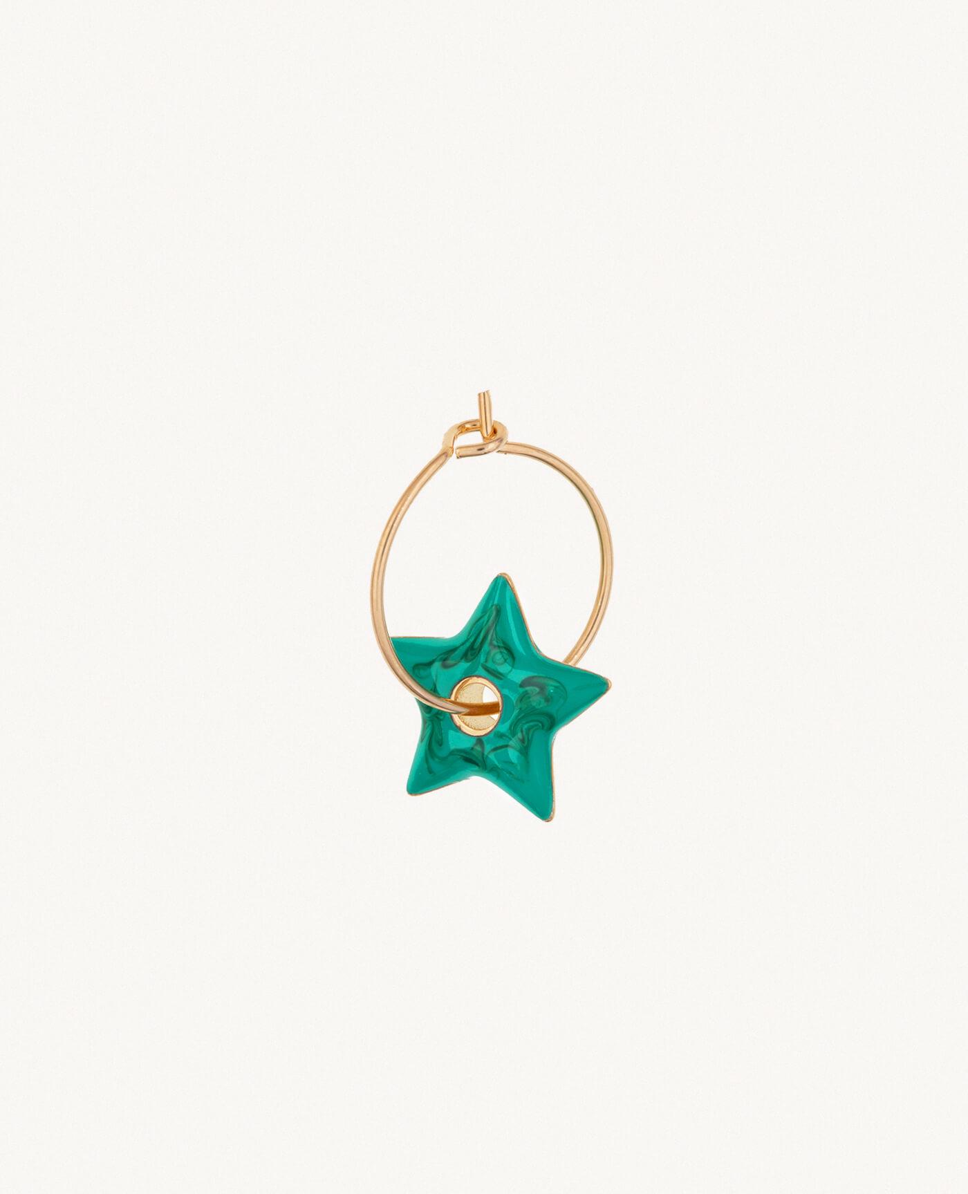 Luj Paris créole Anémone en or et étoile verte