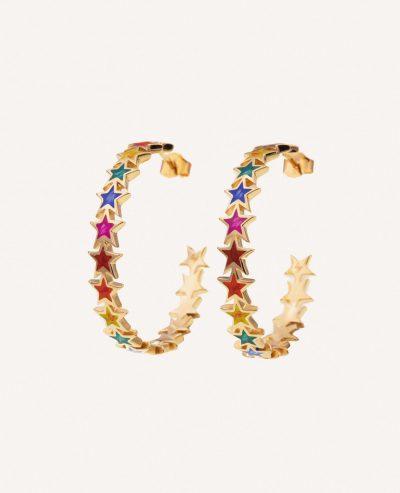 Boucles d'oreilles créoles Java étoiles multicolor émaillées de la marque Luj Paris