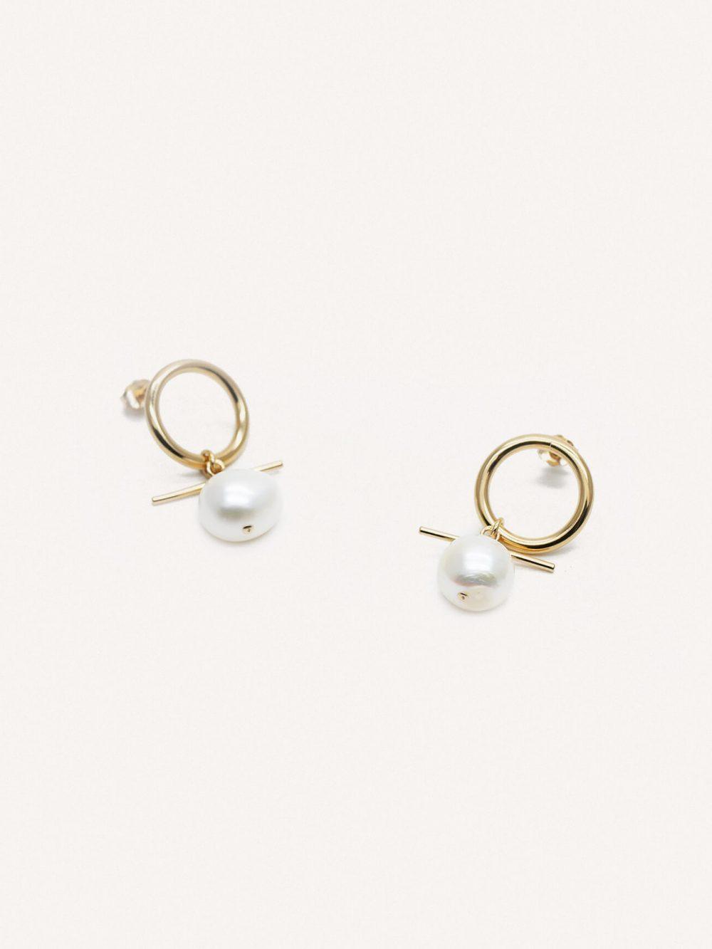 boucles oreilles Lisbon en or et perles de la marque Gisel B made in France