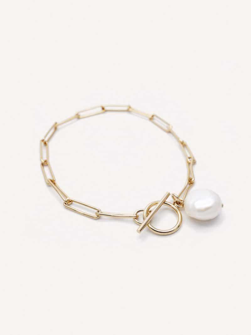 Bracelet Lisbon en or et perle de la marque Gisel B made in france