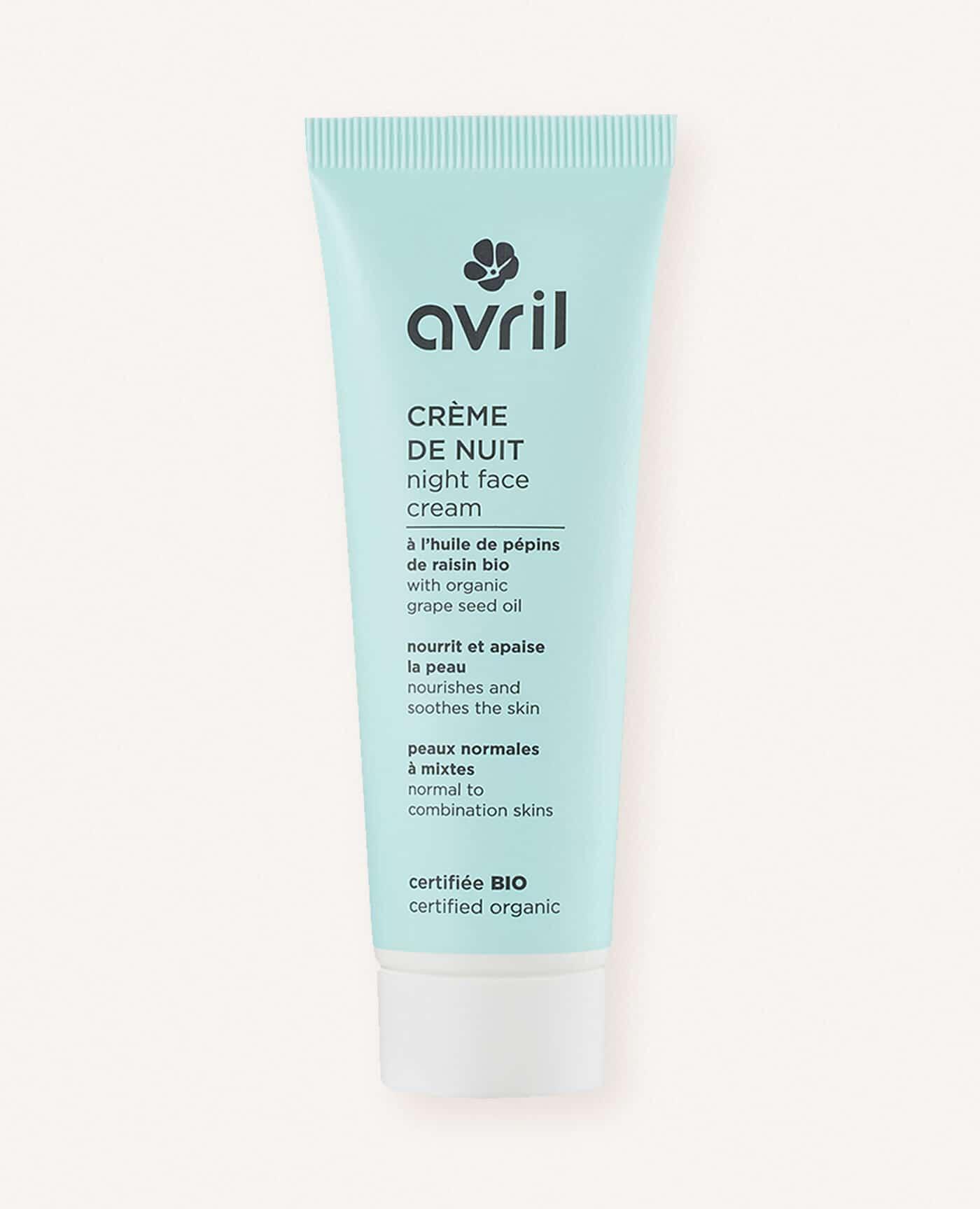 Créme de nuit bio, naturelle et vegan pour les peaux normales à mixtes de la marque Avril cosmétiques made in france