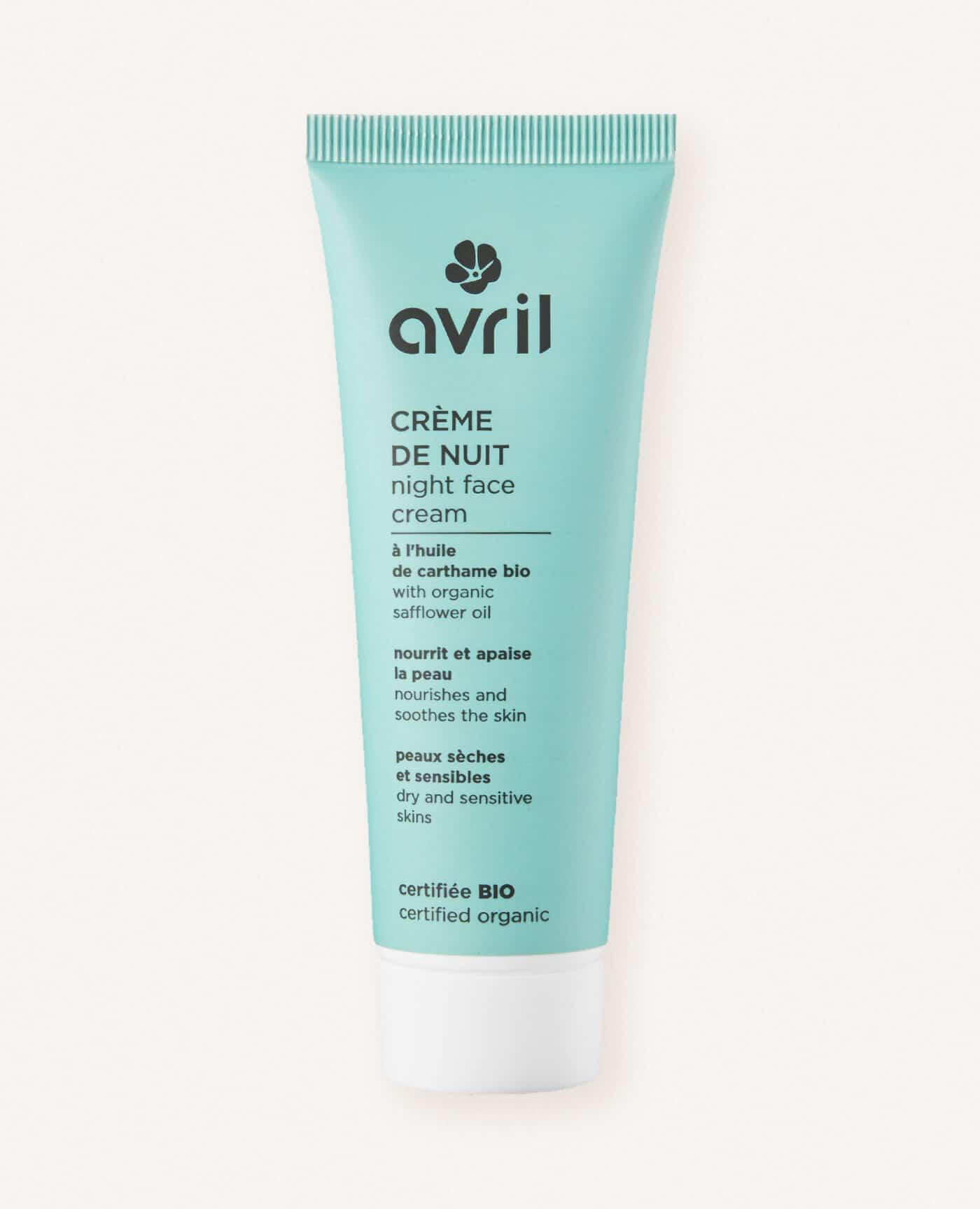 Créme de nuit bio, naturelle et vegan pour les peaux sèches et sensibles de la marque Avril cosmétiques made in france