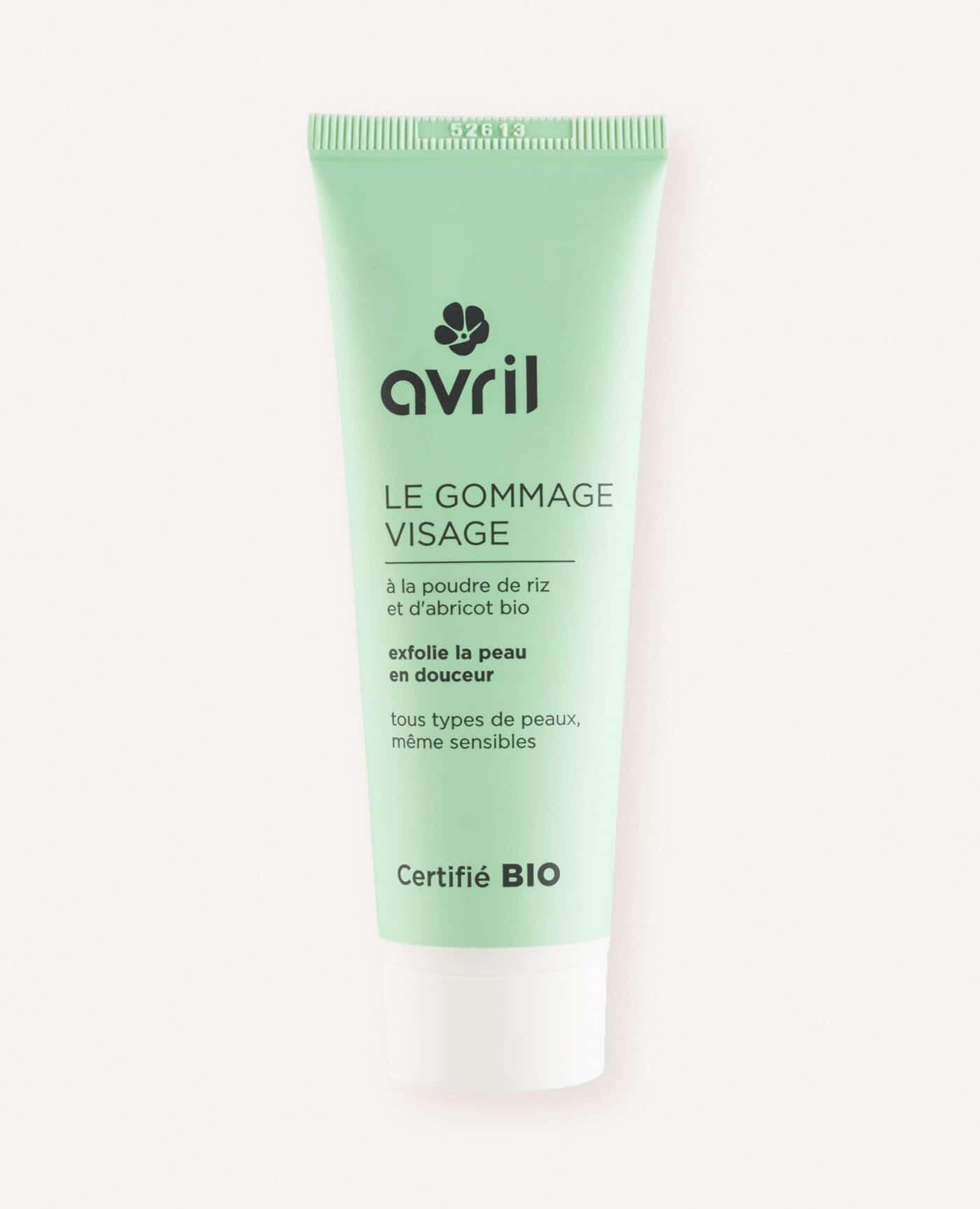 Gommage visage bio, naturel et vegan de la marque Avril cosmétiques made in France