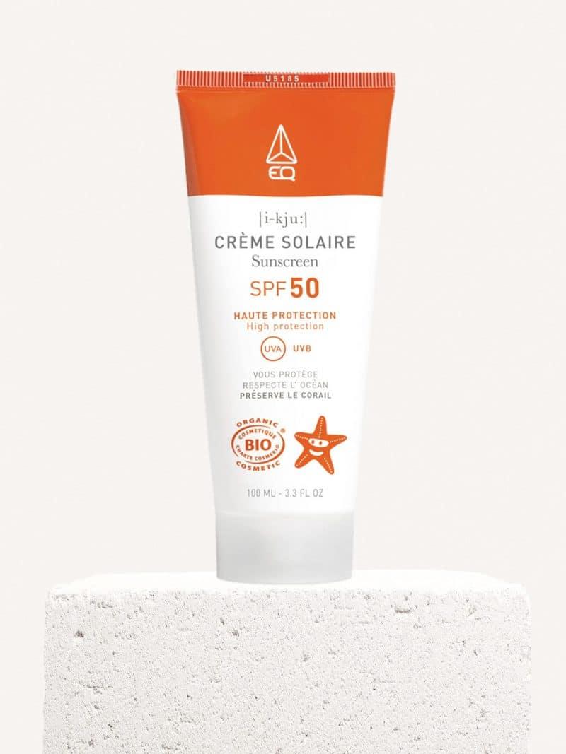Crème solaire bio SPF 50 bio corps et visage de la marque EQ Love