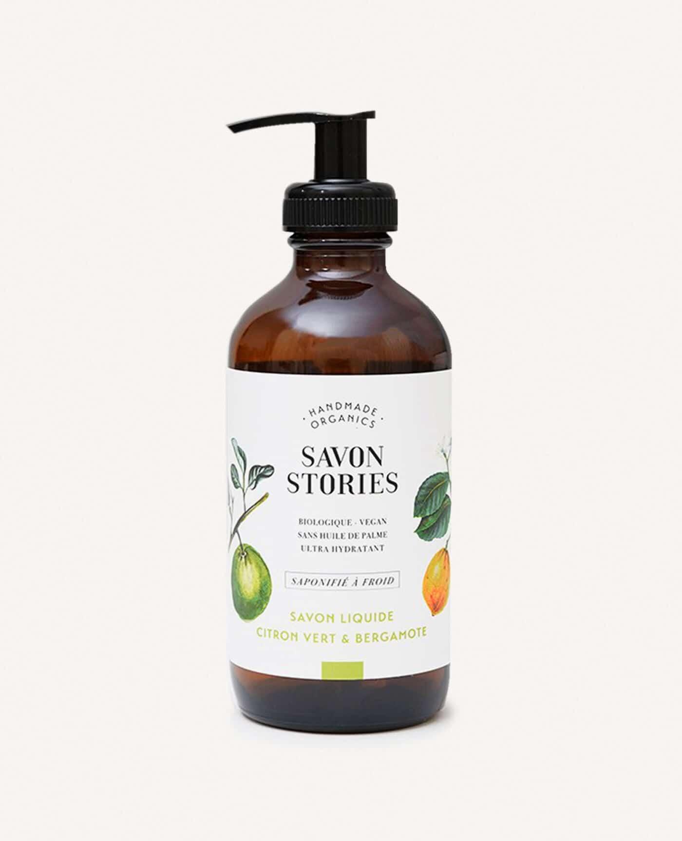 Savon liquide bio, naturel et vegan au citron vert et bergamote de la marque Savon Stories made in france