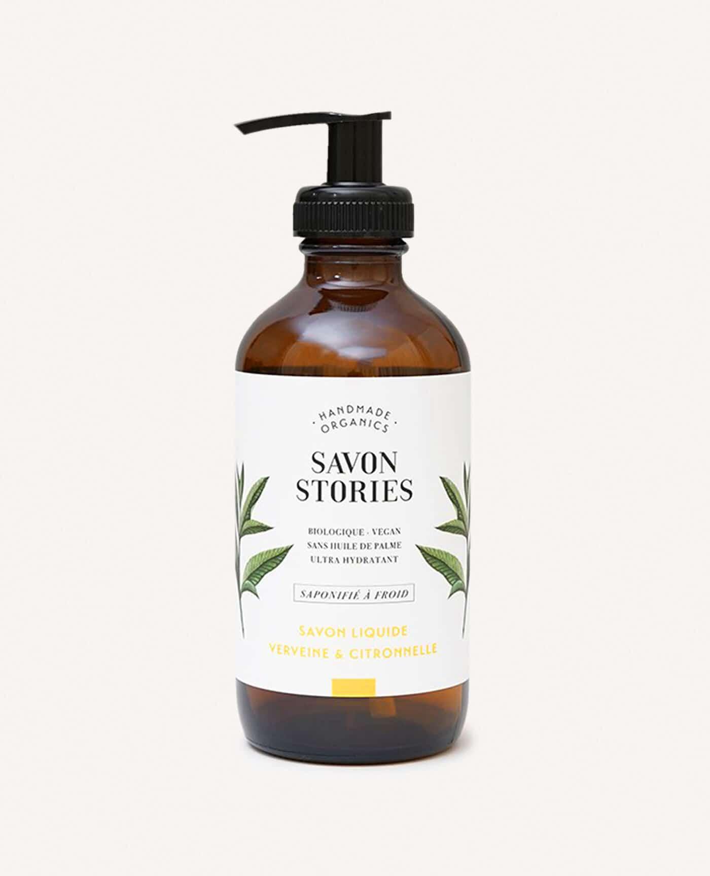 Savon liquide bio, naturel et vegan à la verveine et citronnelle de la marque Savon Stories made in france