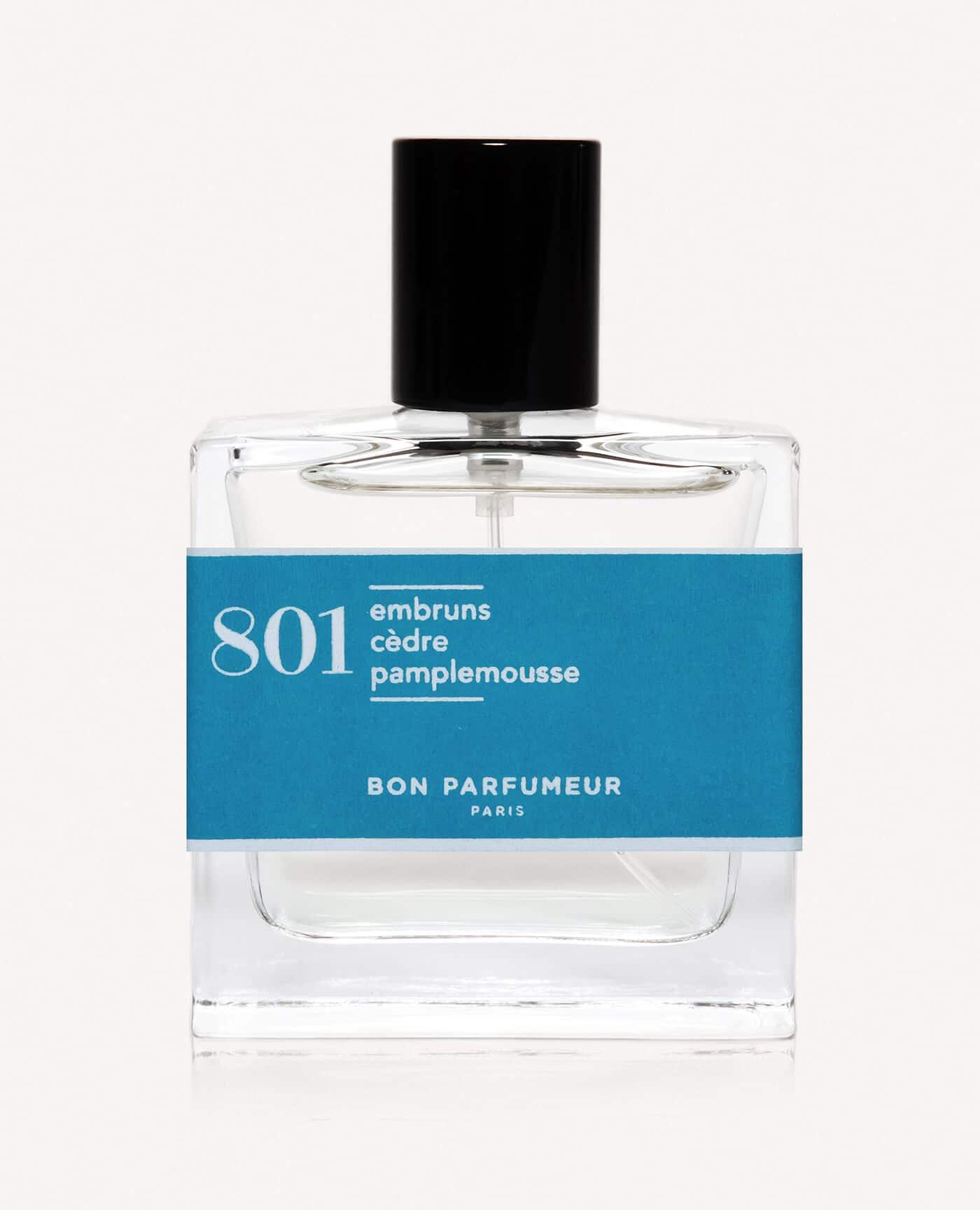 Eau de parfum made in france naturelle de la marque Bon Parfumeur 801 embrun cèdre pamplemousse