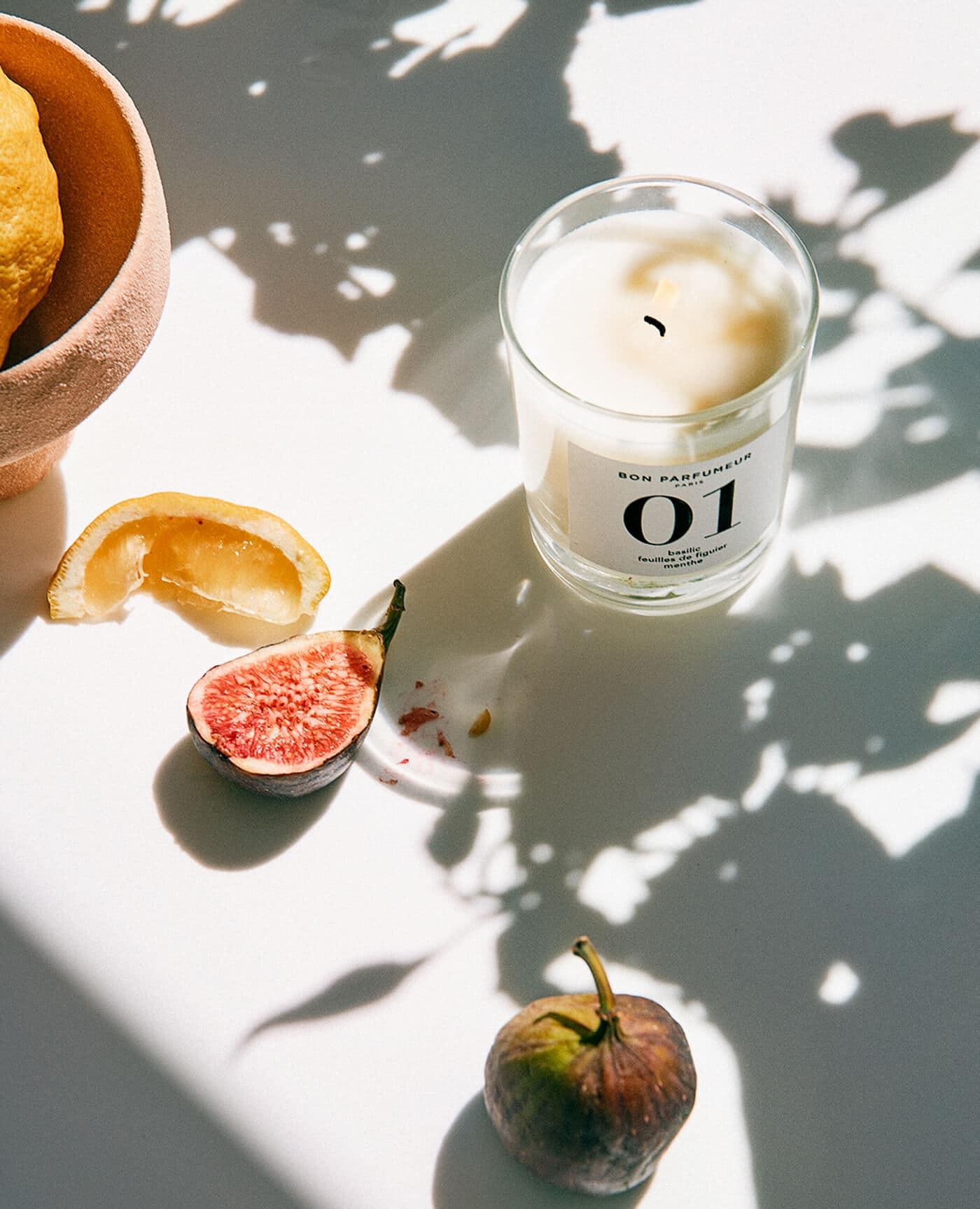 bougie 01 basilic, feuille de figuier et menthe made in France de la marque Bon parfumeur
