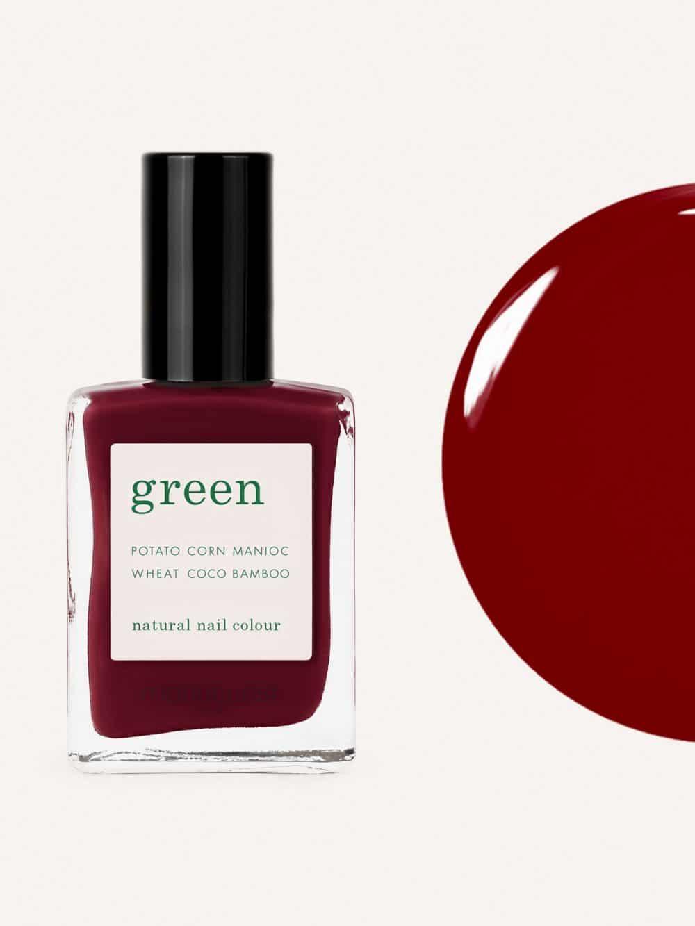vernis à ongles bio green de la marque Manucurist made in france de couleur bordeaux dark pansy