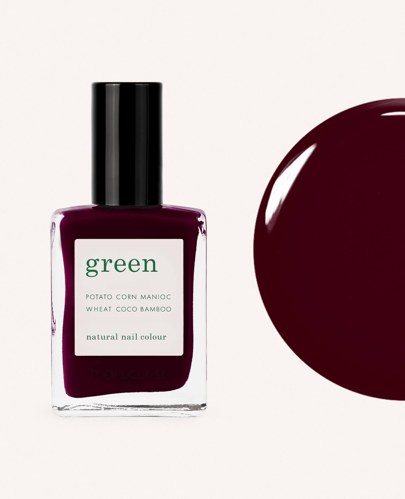vernis à ongles bio green de la marque Manucurist made in france de couleur bordeaux hollyhock