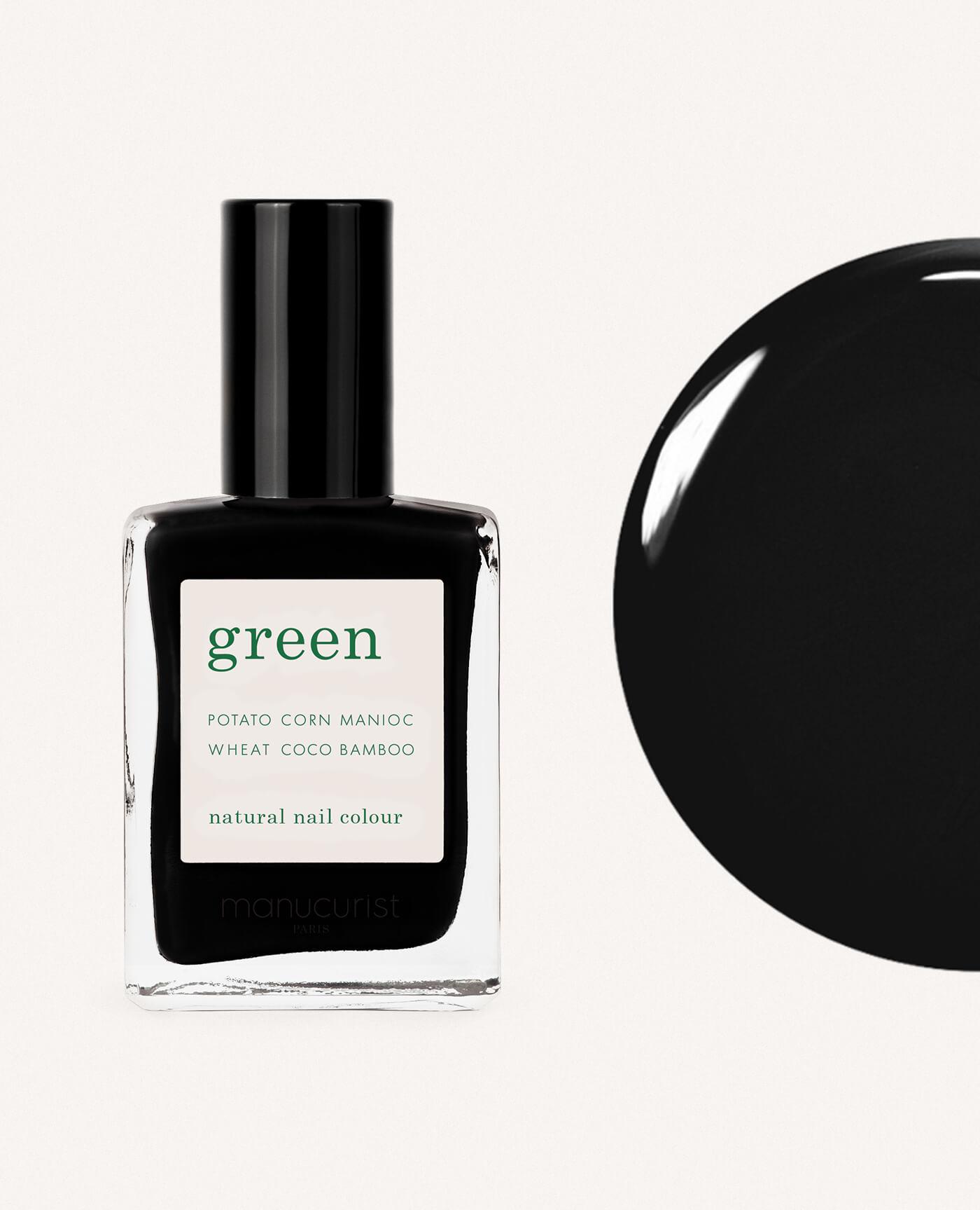 vernis à ongles bio green de la marque Manucurist made in france de couleur noir licorice