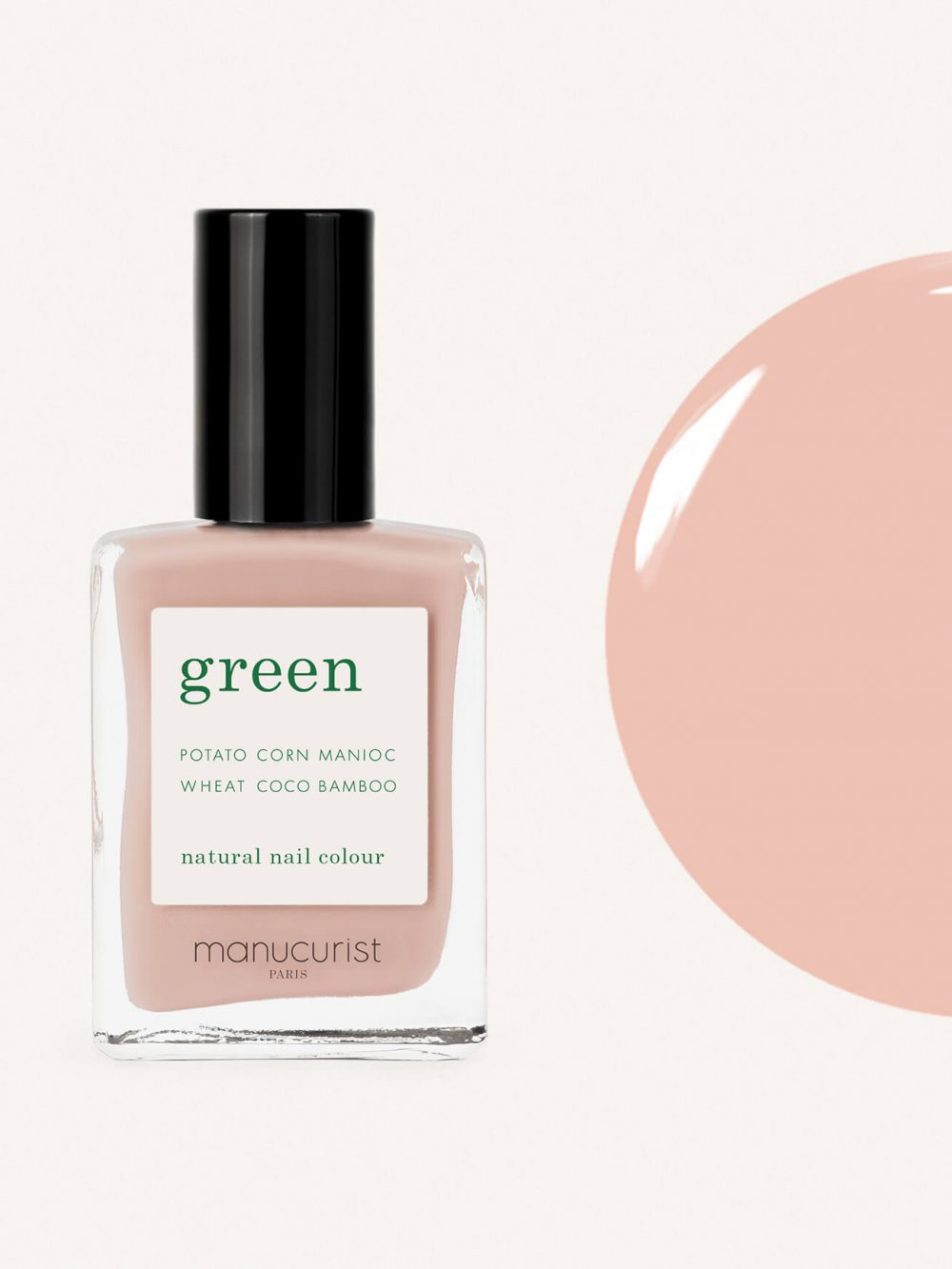 vernis à ongles bio green de la marque Manucurist made in france de couleur nude bare skin
