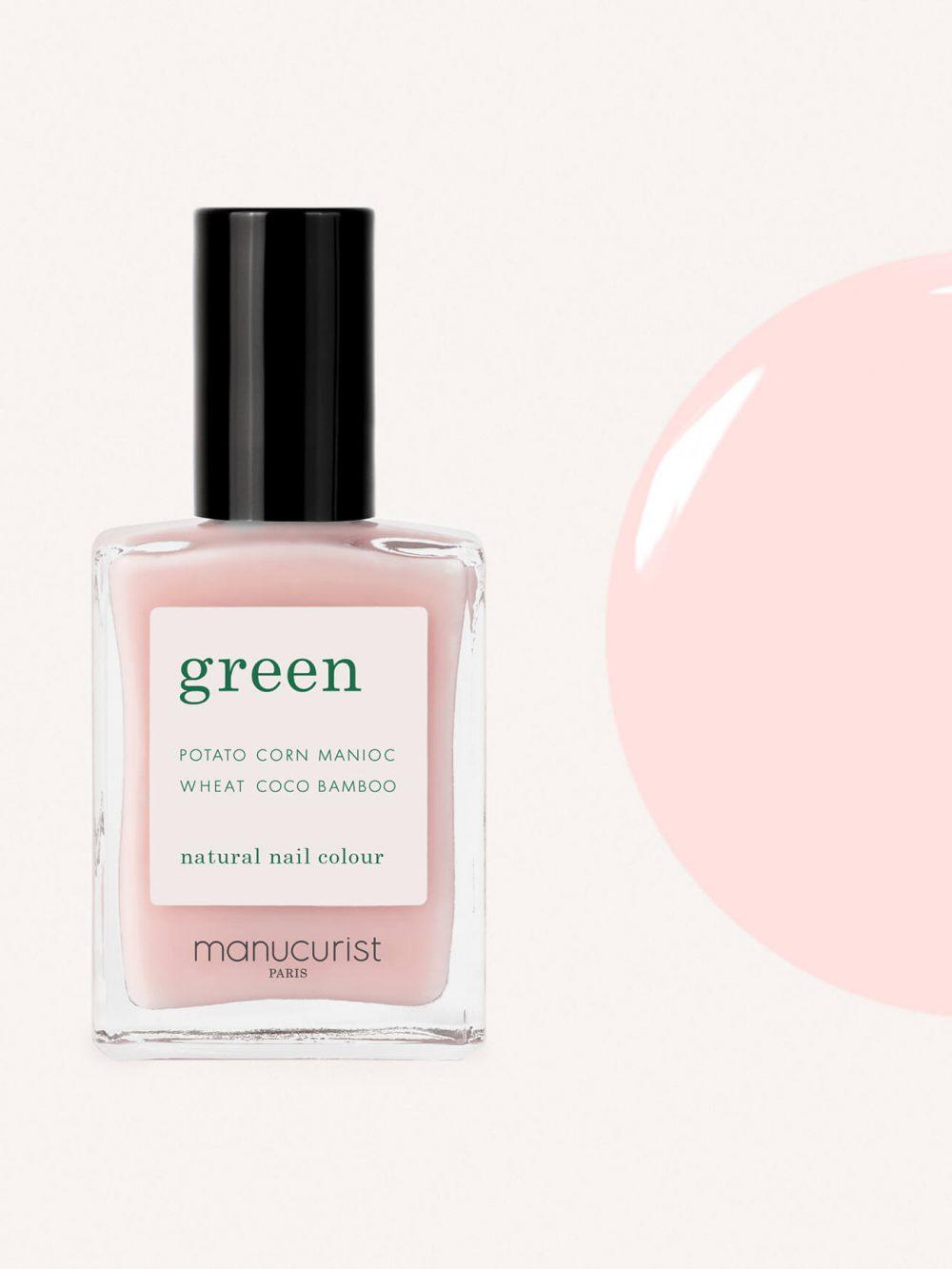 vernis à ongles bio green de la marque Manucurist made in france de couleur nude rose hortensia