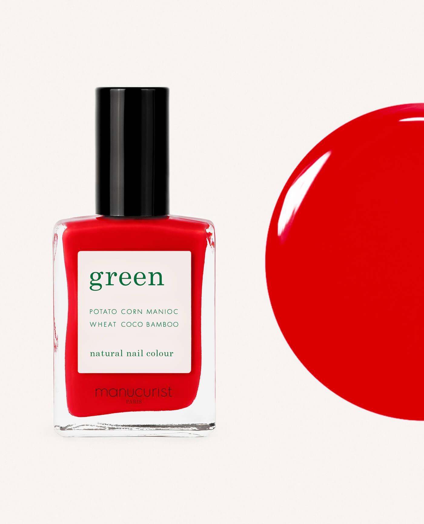 vernis à ongles bio green de la marque Manucurist made in france de couleur rouge anemone