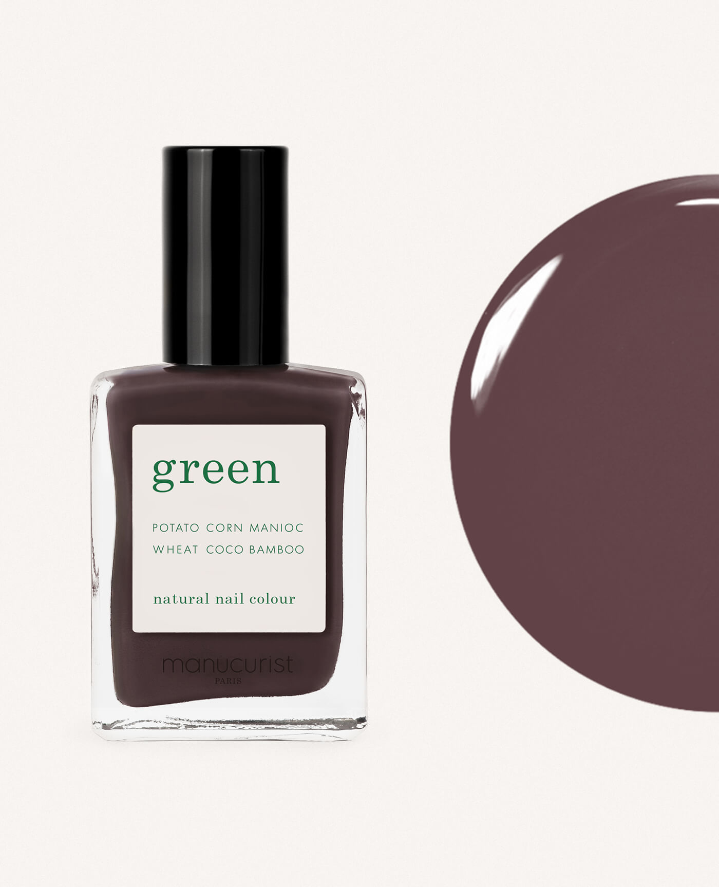 vernis à ongles bio green de la marque Manucurist made in france de couleur rouge tourmaline