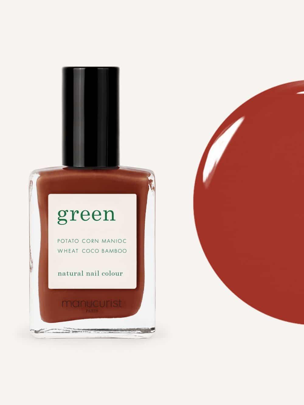 vernis à ongles bio green de la marque Manucurist made in france de couleur rouge indian summer