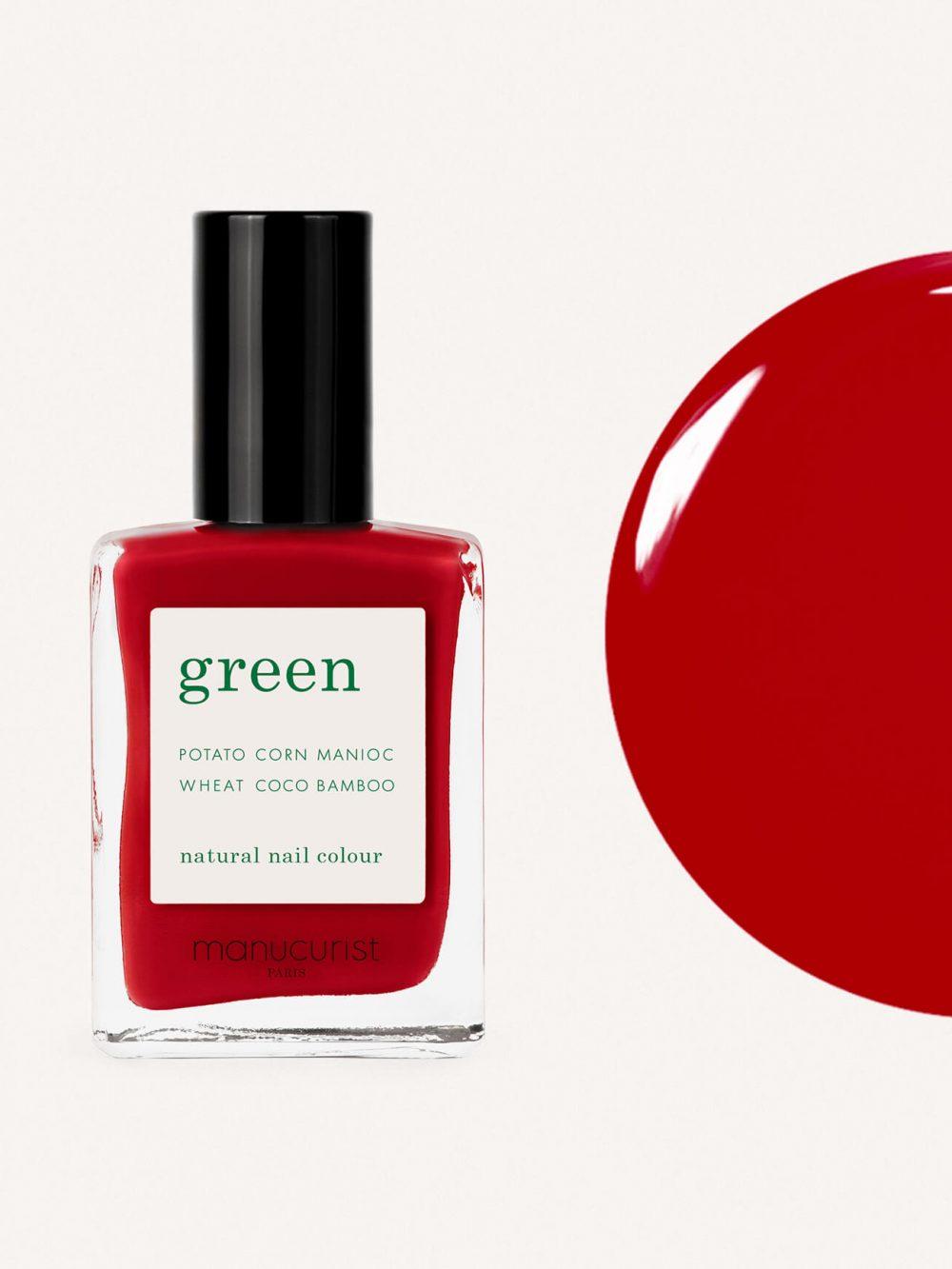 vernis à ongles bio green de la marque Manucurist made in france de couleur rouge red cherry