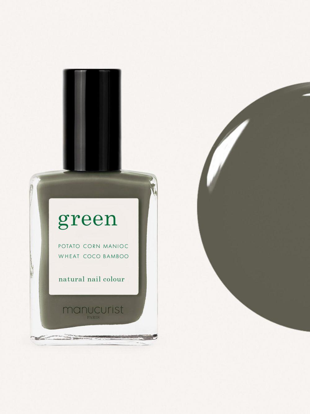 vernis à ongles bio green de la marque Manucurist made in france de couleur vert khaki