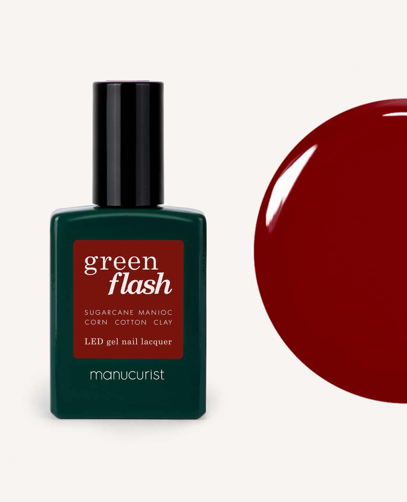 Vernis à ongles bio semi-permanent green flash de la marque Manucurist made in france de couleur bordeaux dark pansy