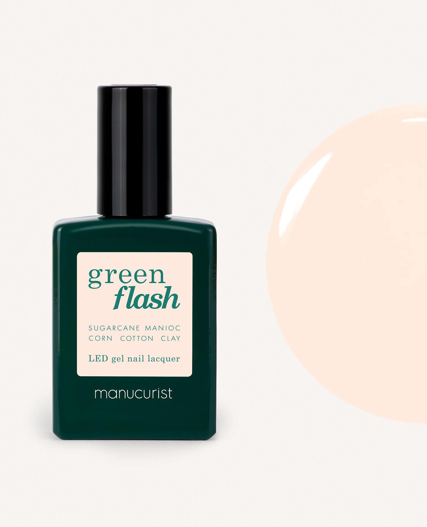 Vernis à ongles bio semi-permanent green flash de la marque Manucurist made in france de couleur nude